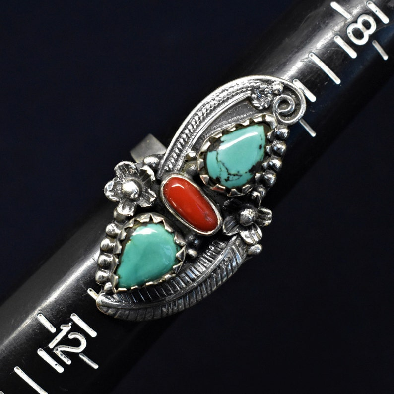 Turquoise Coral Handmade 925 Women/'s Beautiful Ring Sterling Silver 17g STB31