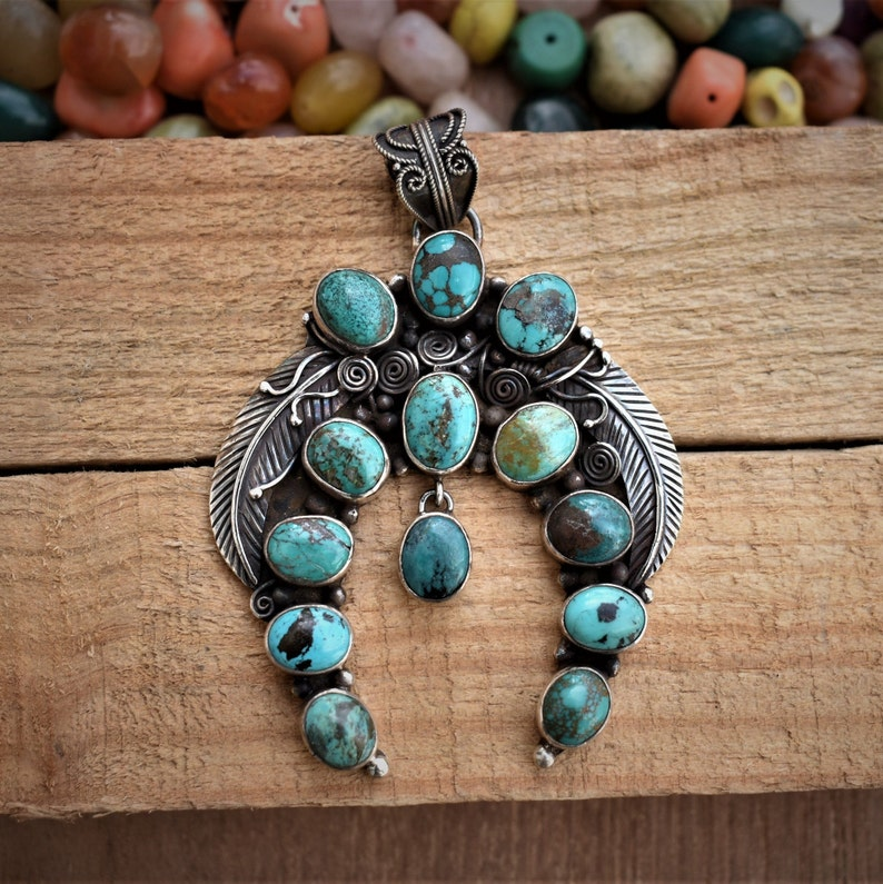Old Pawn Handmade Navajo Cluster Design Beautiful Southwestern Turquoise Leaves 925 Pendant Sterling Silver 70g SUG203