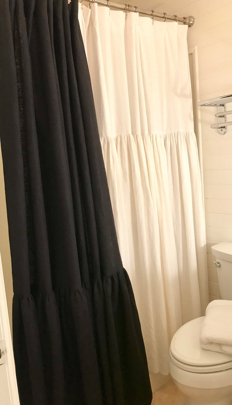 Black Linen Shower Curtain Farmhouse Cottage Country Bathroom Shower Curtain Heavy Linen Custom Made To Order