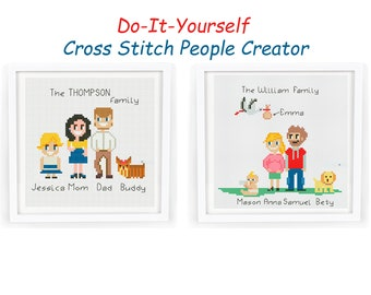 Family Portrait Cross Stitch Pattern PDF /  Personalized  Small Cute Counted Modern Easy Cross Stitch For Beginners DIY /  Instant Download