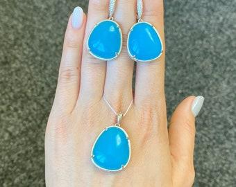Blue gemstones necklace  Rhinestone Ulexite Turquoise