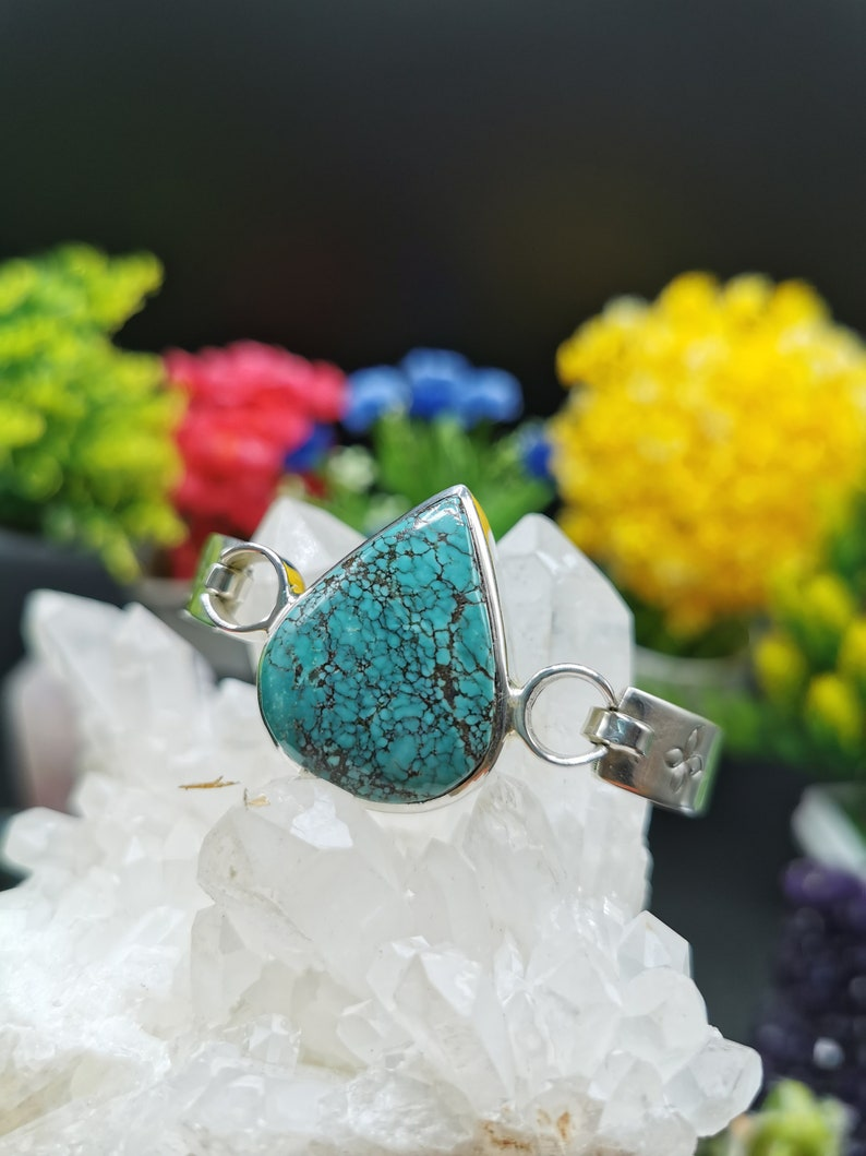 Exquisite Turquoise free size braceletbangle in 925 sterling silver-gemstonecrystal jewelry|Mother/'s DayBirthdayWeddingAnniversary gift