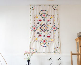 Hand Embroidered Tablecloth / Wall Hanging from Cameroon, 1970s