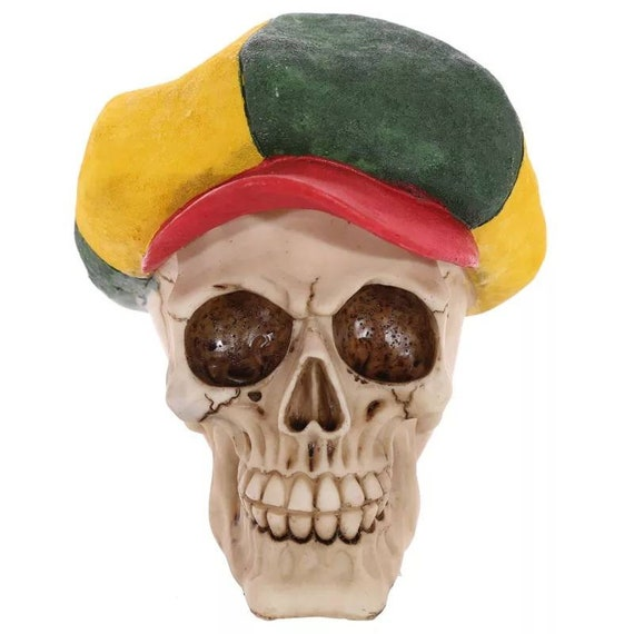 Skull With Cap Hat and Sunglasses Shades Skeleton Figurine Sculpture Halloween