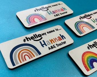 New Material - Personalised Sublimation printed # hello my name is... name badge Rainbows - FREE DELIVERY (UK)
