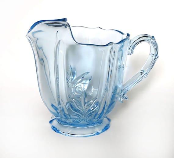 Rare Fostoria Glass Baroque Azure Blue Pitcher With Ice Lip Etsy