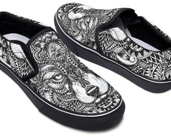 Personnalisé à la main peint Western Rodeo Cowboy chaussures VANS pour femme, colorées aztèque Tribal Design Slip ons pour Cowgirls Americana étoiles