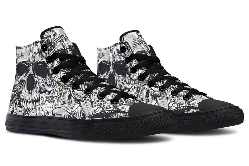 White Skull High tops  Printed Canvas Shoes