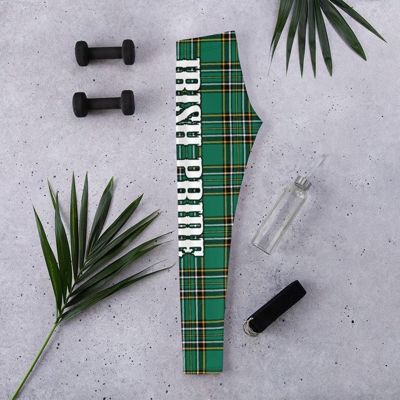 Printed leggings yoga pants Irish Leggings Irish Pride Green Tartan Leggings