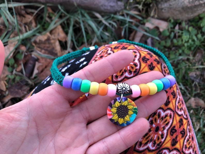 Kandi Pony Bead Festival Necklace Sunflower Hemp Choker Sunflower Pendant Hemp Necklace Hippie Boho Rave Rainbow Pride Flower