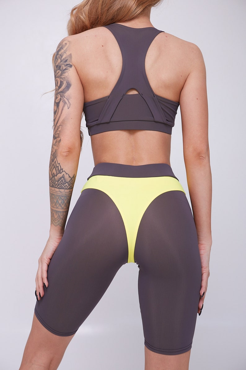 Grey-and-Yellow Tracksuit Women/'s Tracksuit Tracksuit With Long Shorts Yoga Tracksuit Tracksuit With Sports Bra Tracksuit For Running