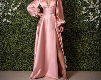 Long Green silk wedding dress,prom reception gown,maid of honor dress,silk reception dress,African clothing for women,bridesmaid dresses