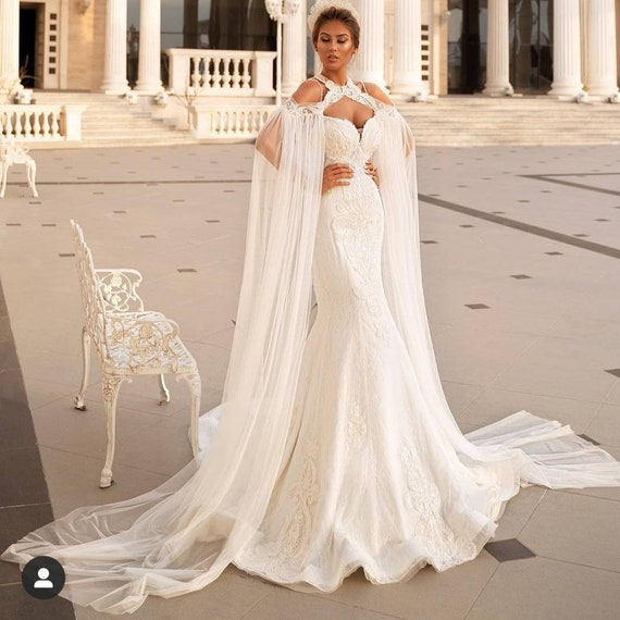 White wedding dress with cape reception dress,white african wedding dress,prom gown, engagement party dress