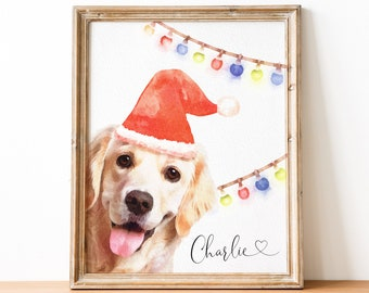 Custom dog portrait Custom pet portrait Personalized gift   Watercolor painting Print Wall art   Dog memorial gift Dog mom dad Pet memorial