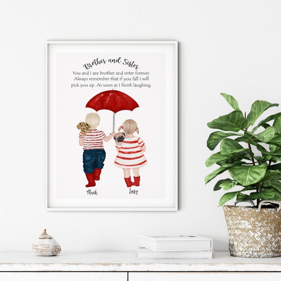 Brother Sister Gift Brother Quotes Brother And Sister Gift Etsy