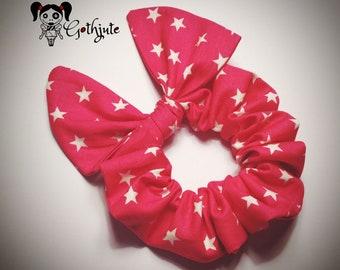 Black white star bold bow scrunchies hair tie bobble alternative rockabilly style