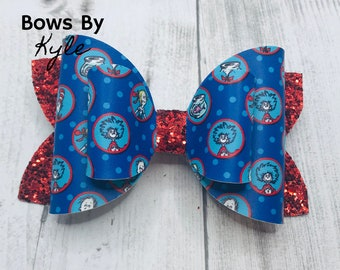 Suess Girls Loopy Flower Hair Bow Thing 1 and Thing 2 Dr