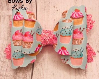 Birthday Cupcake Hair Bow BirthdayCupcake Hair Clip Birthday Hair Bow Girls Toddler /& Baby Birthday Hair Bow Cupcake Hair Clip Bow