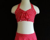 Red and White Polka Dot 2 Piece Dance Costume, Retro Swimsuit Style with Skirt and Halter Top, fits medium to large child sizes