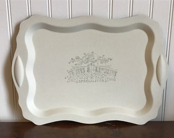 Painted silver tray, farmhouse decor, French vintage style, decorative tray,