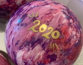 Personalized 2020 Hand painted glass ornaments, medium (3.1 inches)