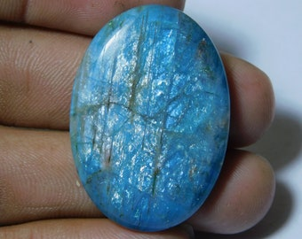 39Cts 23x21x6mm Semi Precious Handmade Polished AA Quality Stone For Jewelry Natural Apatite Cabochon Amazing Blue Apatite Loose Gemstone