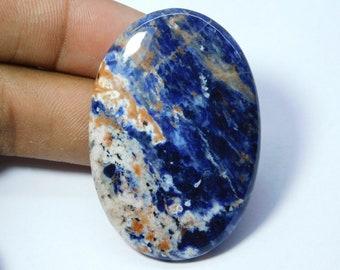 Natural Sodalite Cabochon Loose Gemstone Semi Precious Top Quality Blue  And Orange Hand Polish Cabochon Christmas Special