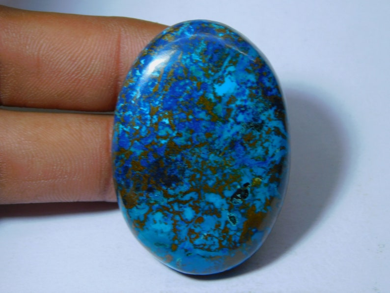Natural Spiny Copper Azurite Radiant Shape Cabochon Loose Gemstone,31.20 Ct Copper Azurite Gemstone,Top Quality For Making Jewelry DS-8988