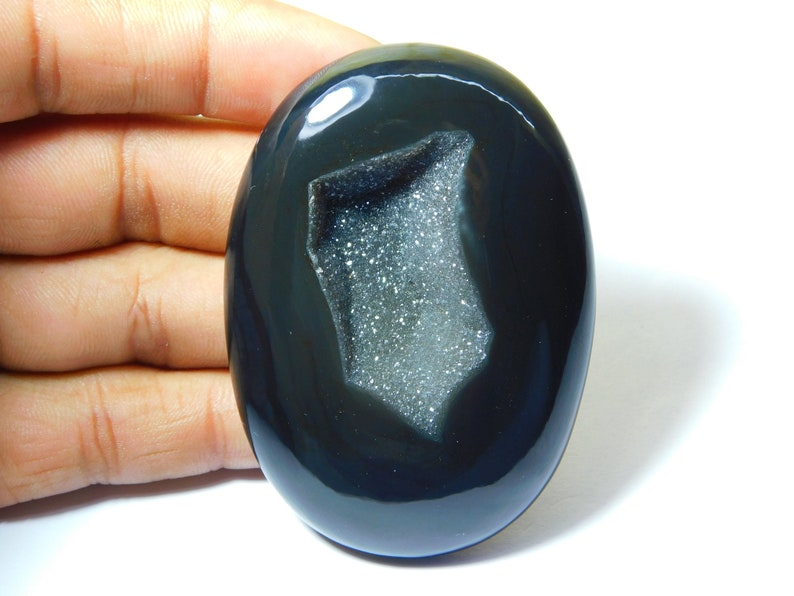 Rare Black Onyx Druzy Cabochon Top Quality Hand Polish Loose Stone Jewelry making Onyx Gemstone Oval Shape 289Ct 70X50 mm#2199 Very !!