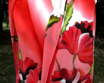 Silk scarf shirt from Italy Red poppies with purple/& black background