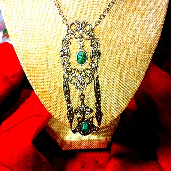 Beautiful Egyptian Revival Scarab Necklace - image 3