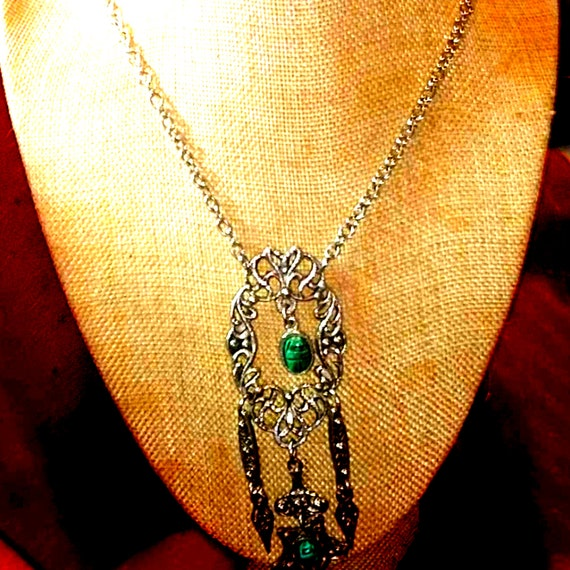 Beautiful Egyptian Revival Scarab Necklace - image 1