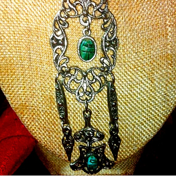 Beautiful Egyptian Revival Scarab Necklace - image 2