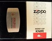 Vintage Korbel Brandy Advertising Money Clip Knife by Zippo Lighter Co Unused in Box
