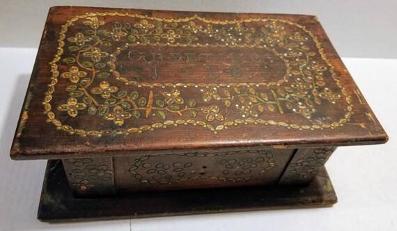 Antique 1916 Primitive Handmade Jewelry Box Chest