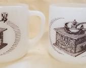 Vintage set of 2 Federal milk glass 1885 MoorMan 39 s Feed Coffee Grinder Mug Advertising