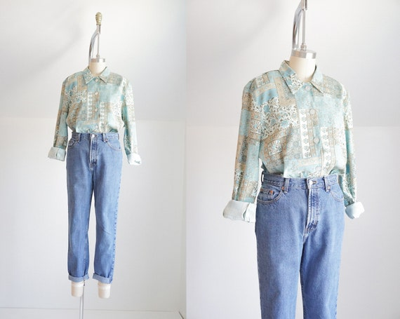 vintage floral button down blouse | boxy collared