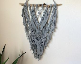 Macrame Wall Hanging - Light Gray Macrame Cord + Driftwood