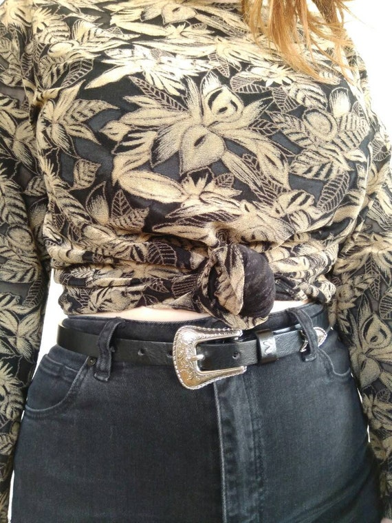 1990s / Y2k Floral Mesh Top Black and Tan - image 3