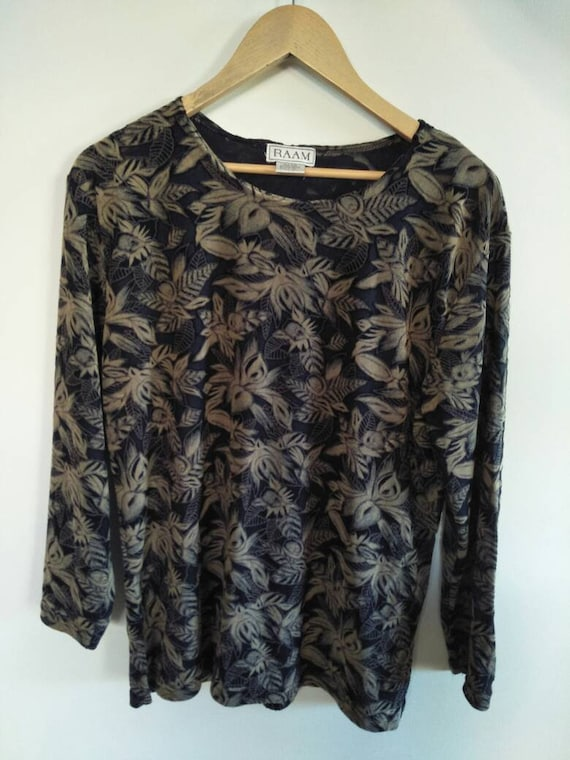 1990s / Y2k Floral Mesh Top Black and Tan - image 4