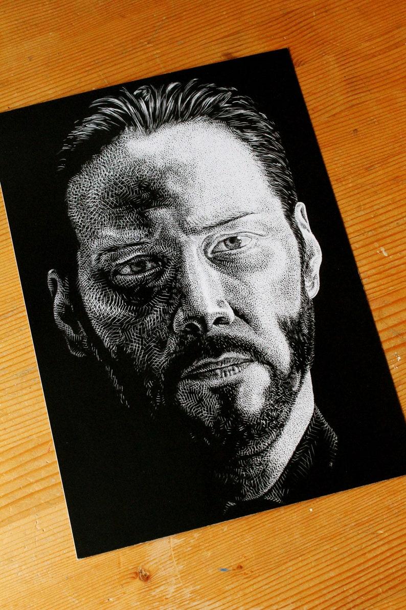 John Wick Art Print Portrait Drawing Portrait Artwork Realistic Portrait Celebrity Portrait Limited Edition A4 Print