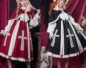 Goth Lolita Dress,Cute Babydoll Dress with Cape,Princess Dress,Costume Dress