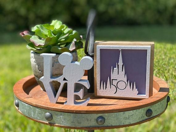 50th celebration Walt Disney World , Disney home decor, Disney Castle shelf sitter/ tiered tray decor.