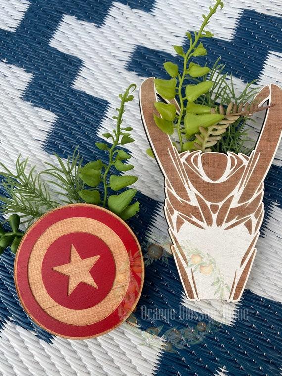 Marvel Magnet Mini Planter, Tiny Plants Loki, Captain America mini plant