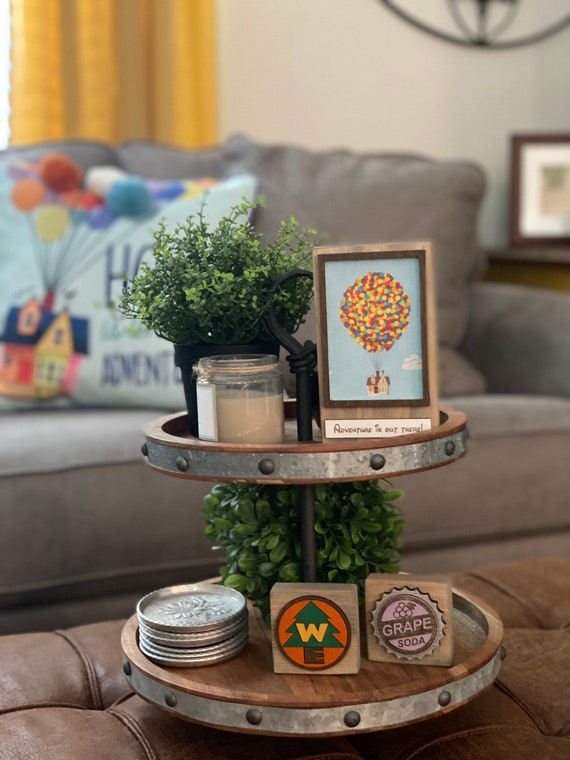 Up! Inspired Tiered Tray Wood Block Set, Disney inspired Home Decor
