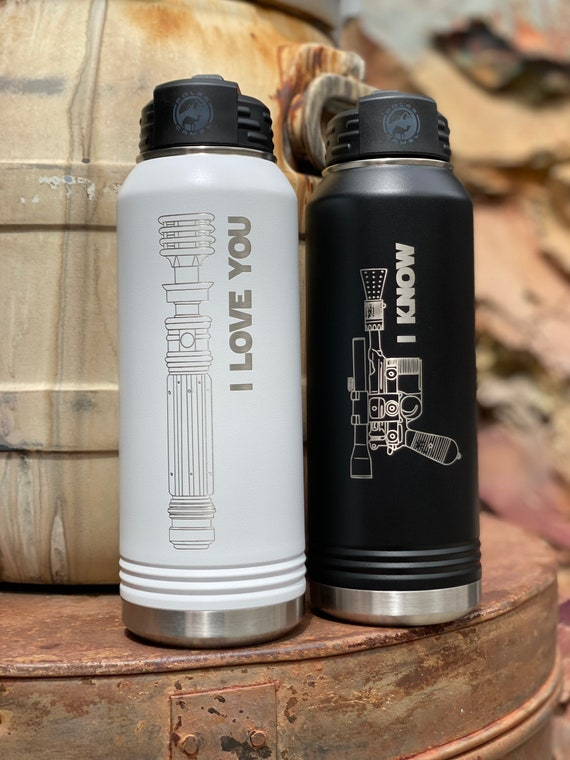 Star Wars Couple 32oz Water Bottle set, Han and Leia, I Love you, I Know.