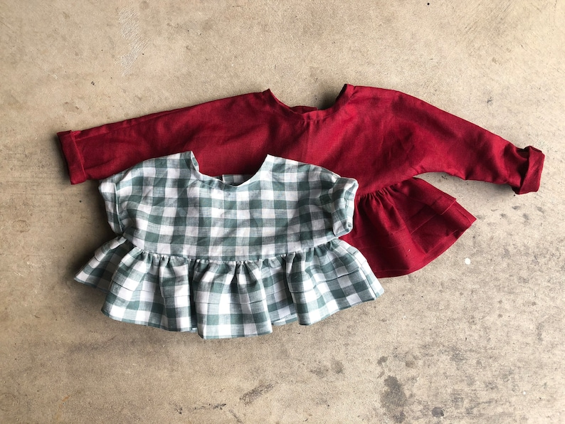 PDF Tutorial with Pictures Step by Step Cute School Girl Pattern and Tutorial 6 months to 8 Years Girls Linen Dress /& Top Sewing Pattern