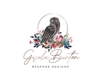 Adorable shabby chic kitsch crowned bird and rose boutique style  OOAK LOGO DESIGN  with and without Sun ray file