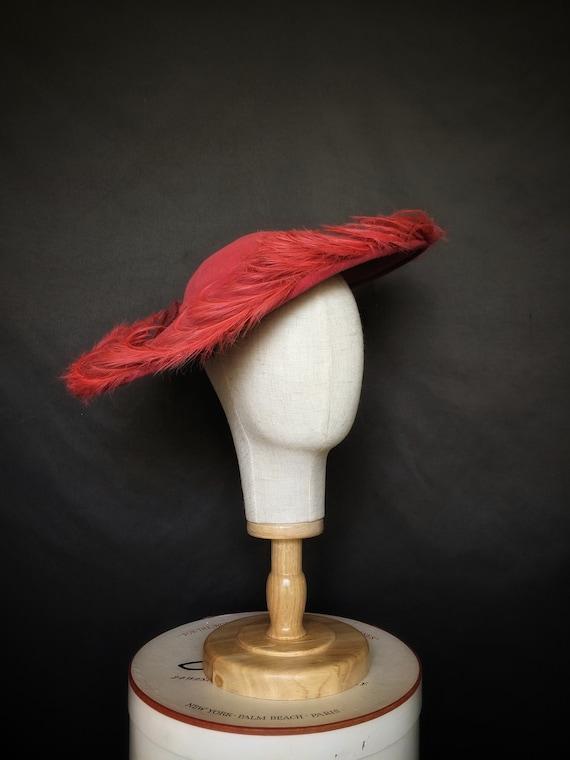 stunning 1950s Flo Raye hat original saucer felt … - image 1