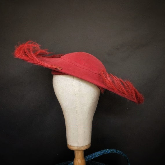 stunning 1950s Flo Raye hat original saucer felt … - image 3